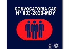 CONVOCATORIA CAS N° 003-2020-MDY