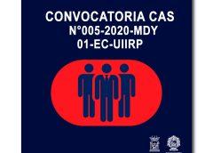 CONVOCATORIA CAS N° 005-2020-MDY 01-EC-UIIRP