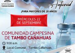 Vacuna contra el COVID19 para mayores de 18 años en Tambo Cañahuas!!